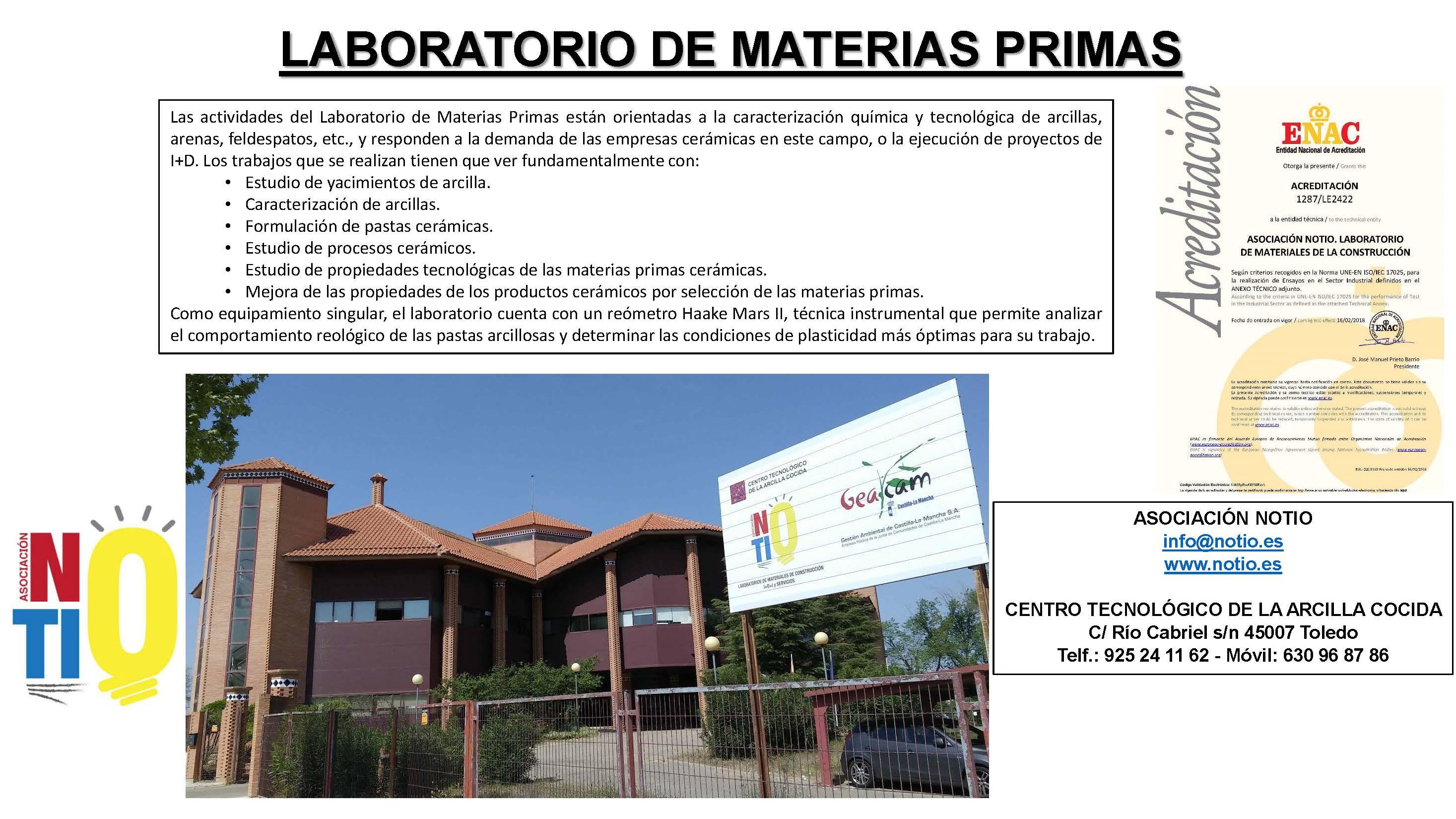 NOTIO: ENSAYOS DE MATERIAS PRIMAS